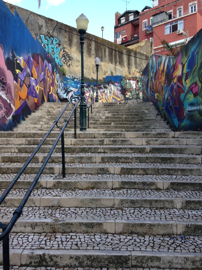 Graffiti art on a pedestrian  stairway