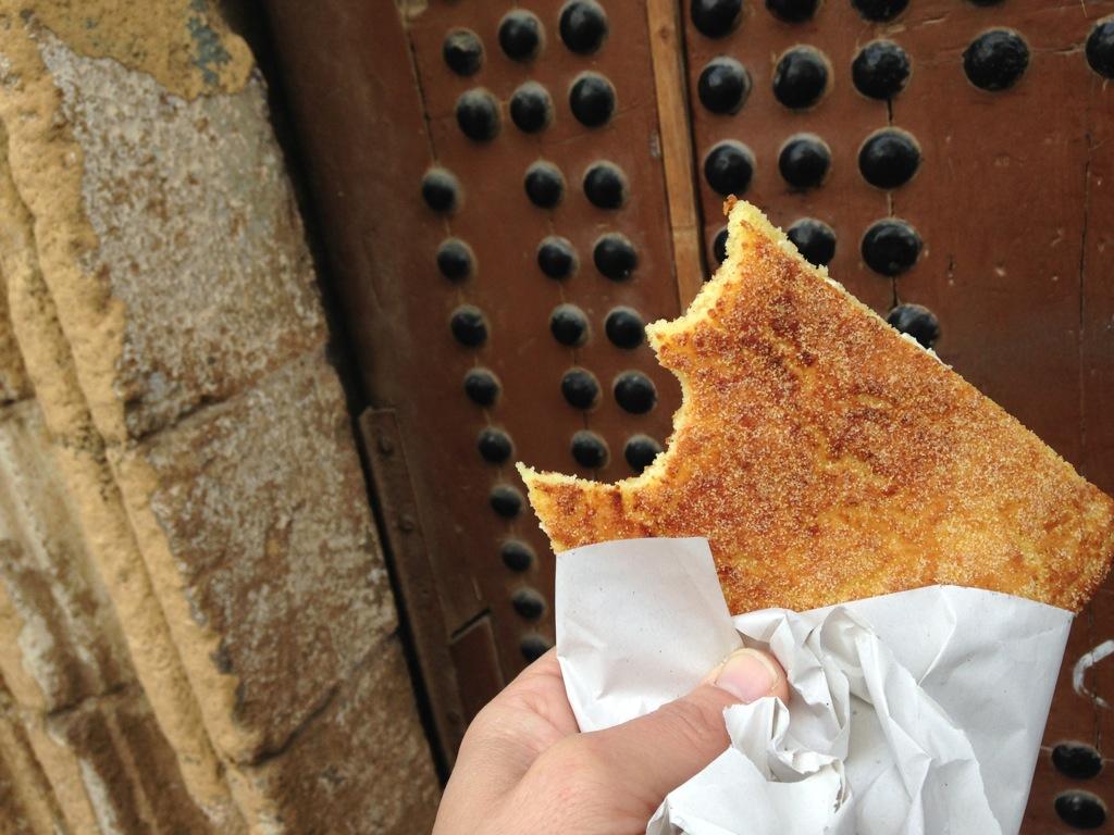 A slice of haracha, a Moroccan semolina-based flat bread