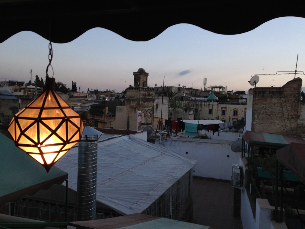 Rooftop terrace view of Fez