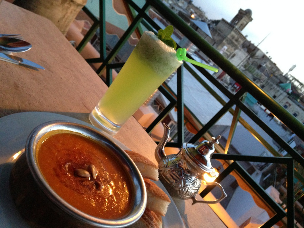 Pumpkin bissara at Cafe Clock in Fez, Morocco.
