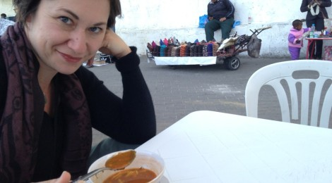 Alison eating harira near the media in Tangier, Morocco.