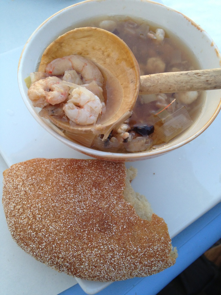 Fish soup and bread in Casablanca, Morocco.