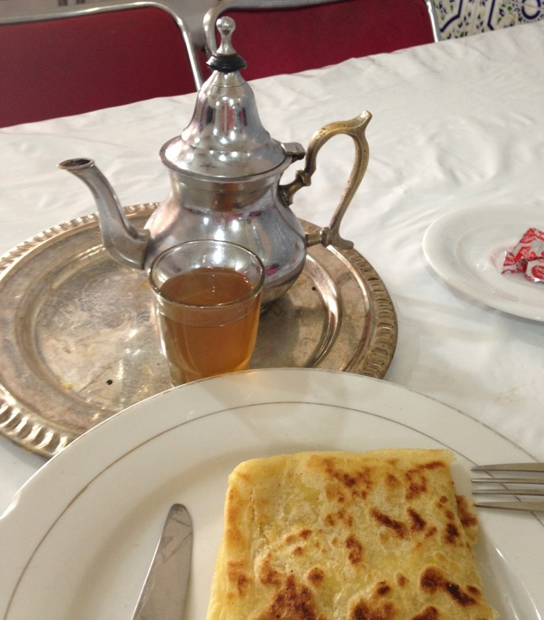 Msemen is another traditional Moroccan bread. Not absorptive enough for soup, it is often served for breakfast. This version in Marrakech was served with butter and honey. In Chefchouen we had it spread with a soft white cheese.