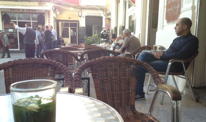Tea and a man at Cafe Tingis, Tangier, Morocco.