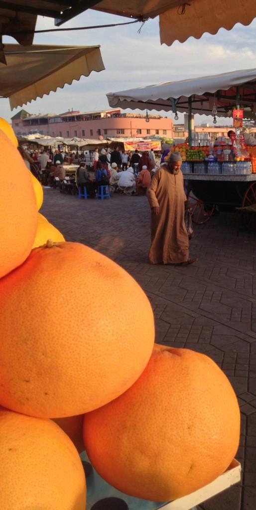 Traditional gentleman crosses the Jamaa El Fna