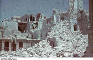 German wartime photograph of July 1943 showing destruction in Palermo, Italy.