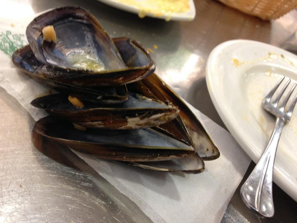 The remains of a plate of mussels at La Mijillonera, San Sebastian