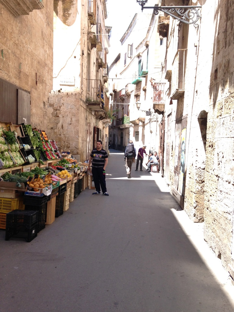 Chris making his way through Taranto's inviting old town