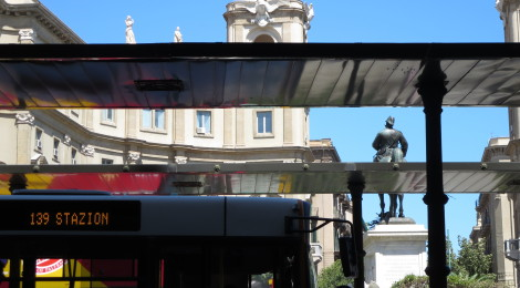 A bus stop in Palermo.