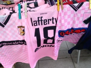 The soccer jersey for Irish-born forward Kyle Lafferty on sale street side in Palermo.