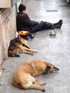 A homeless man and his two dogs in Palermo, Italy.