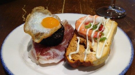 Pintxos in San Sebastian, Spain: Quail Egg on Blood Sausage, Shrimp on Salmon Loaf