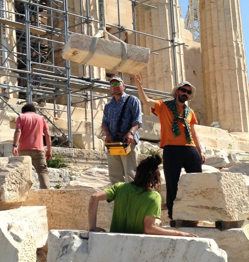 Archeologists at work on the Parthenon in Athens, Greece.