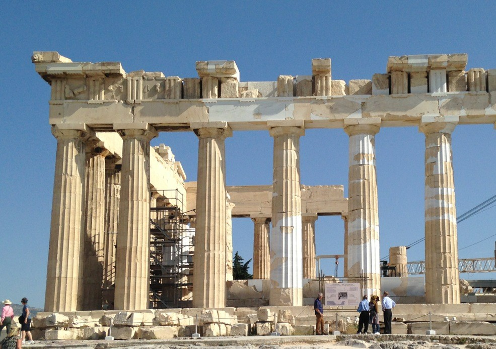 The north side of the Parthenon in Athens, Greece.