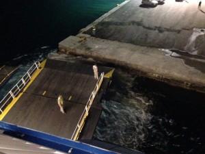 Night ferry docking at Naxos, Greece.