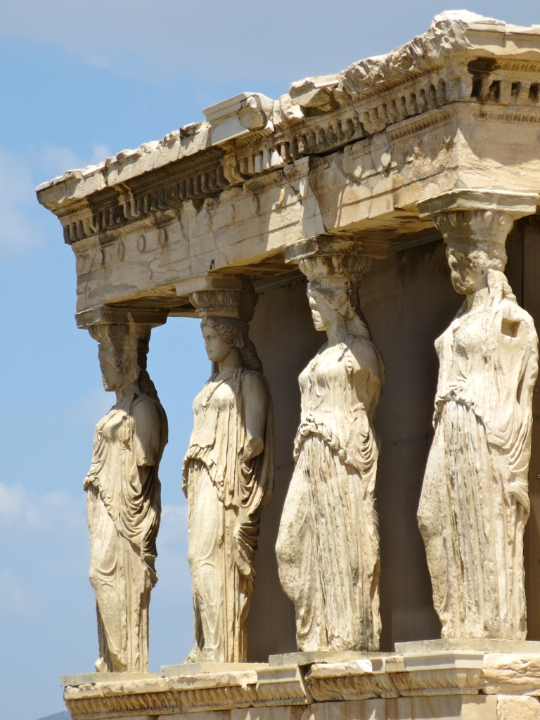 One of the six original sculptures of women holding up the Erechtheion at the Acropolis was carried off by Lord Elgin.