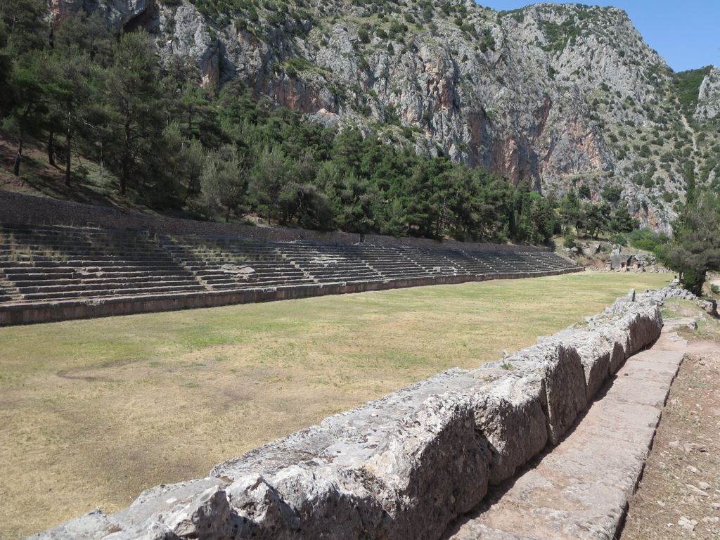 The ancient stadium of Delphi, now well guarded and off limits to tourists
