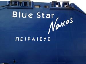 Blue Star Naxos in dock at Piraeus.