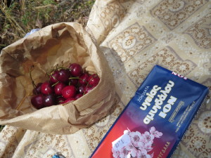 Cherries and chocolate on a picnic blanket on Naxos, Greece.