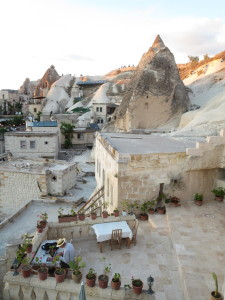 The view over the patio of Cave Life Pension in Goreme, Turkey.