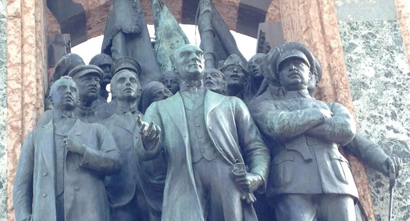 A bronze statue of Ataturk in Taksim Square, Istanbul, Turkey.