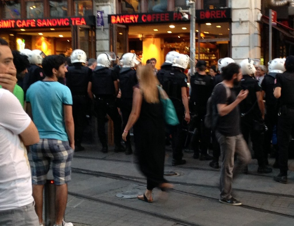 Riot police in the Beyoğlu neighborhood of Istanbul, Turkey.