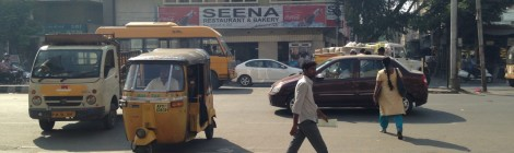 Hyderabad: old auto rickshaw, new car