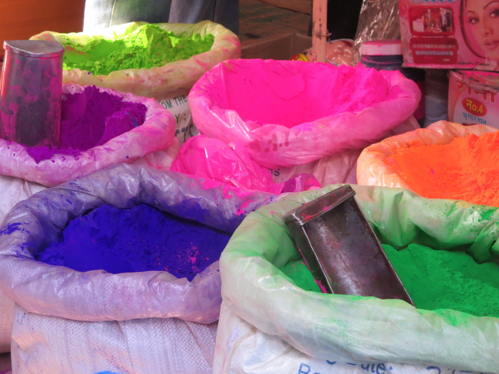 Holi colors for sale on the streets of Jodhpur, India.