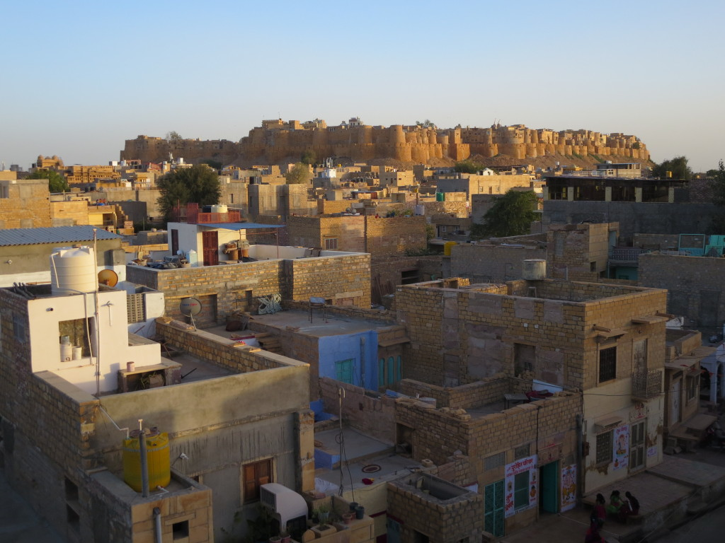 Fort view from the rooftop of the Hotel Renuka, Jaisalmer, India.
