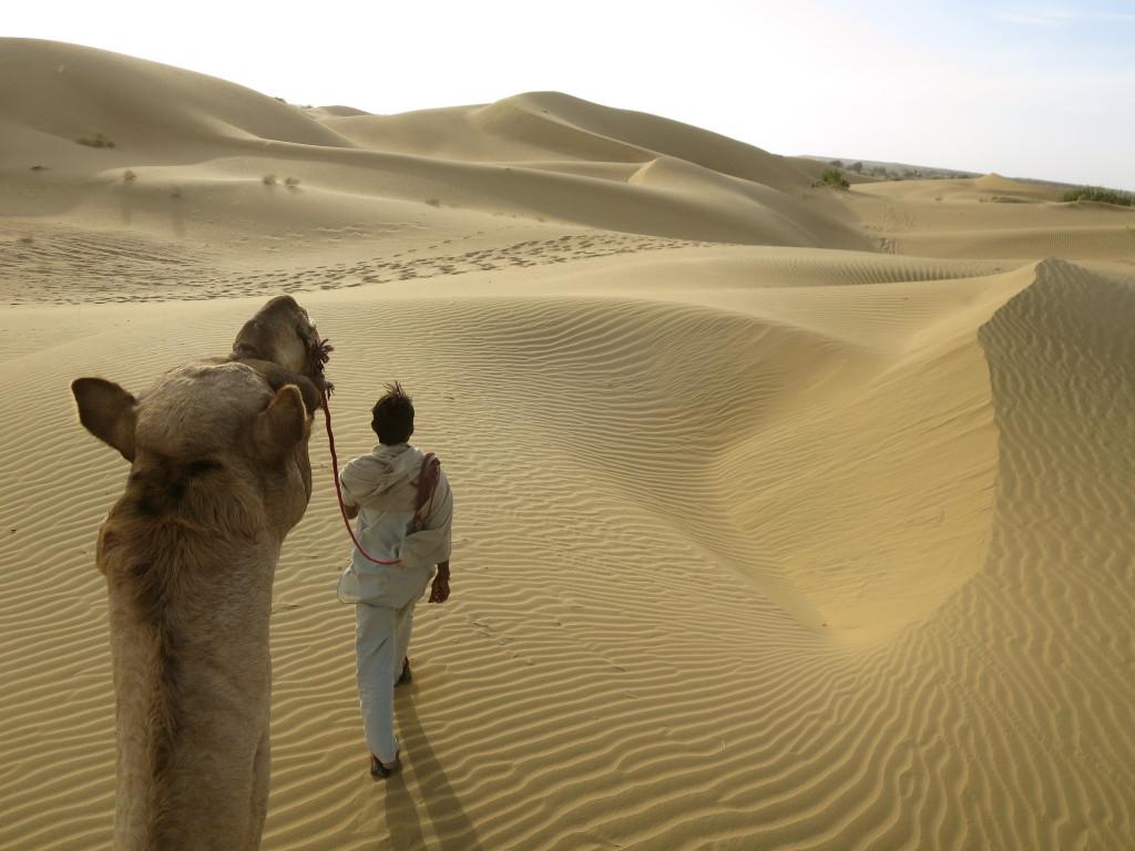 Camel ride in the Thar Desert, Jaisalmer, India.