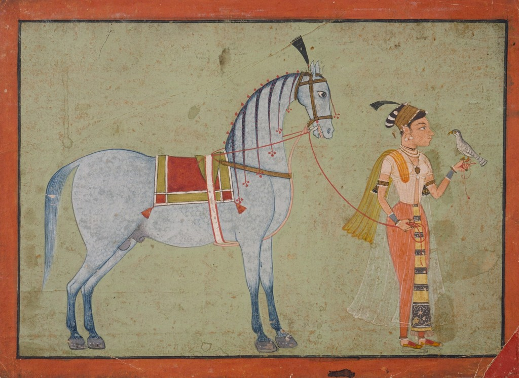 """""""Lady with Falcon Leading a Horse,"""" India, Rajasthan, Ajmer, 1700-1725, Watercolor"""