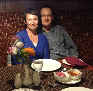 Alison and Chris at Bellpepper Restaurant in Patna, India