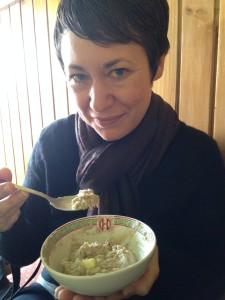 Alison eats Tibetan Porridge