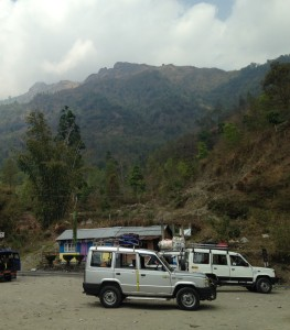 Jeeps at a Rest Stop Downhill From Darjeeling