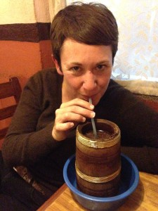 Alison Sips Jaand, An Alcoholic Tibetan Beverage Brewed From Millet