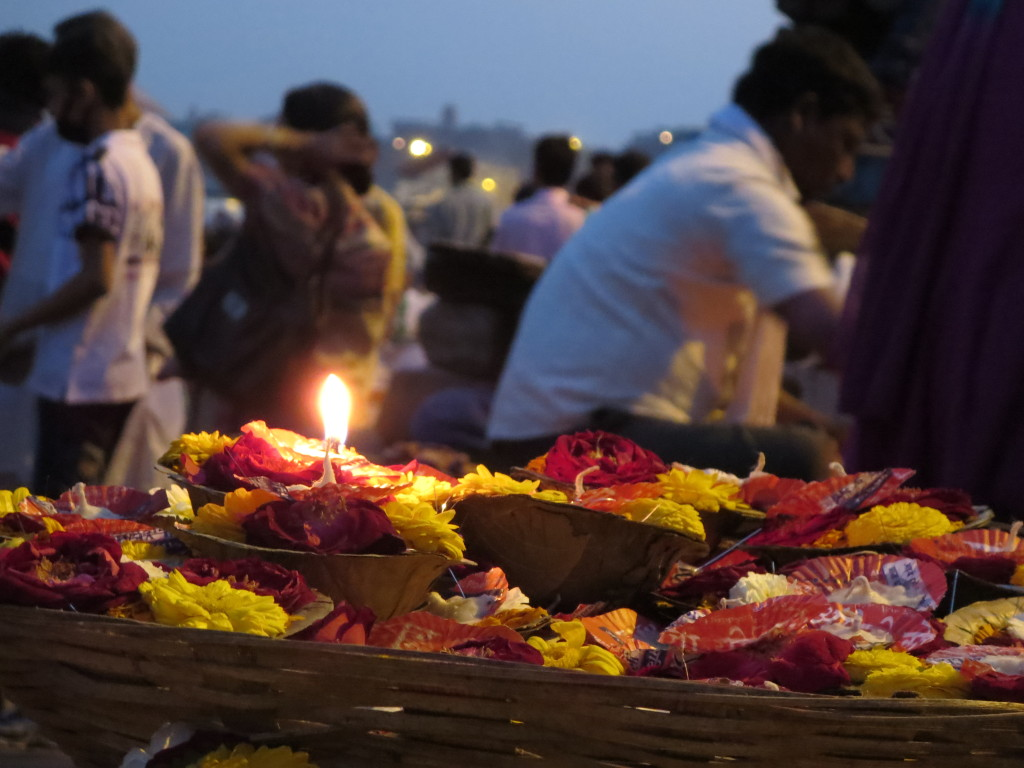 Floating water offerings, Varanasi, India.