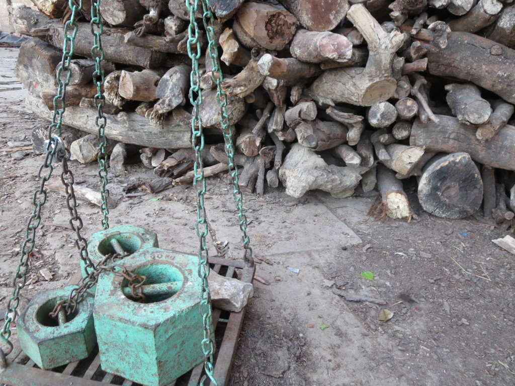 Firewood scale, Manikarnika Ghat, Varanasi, India.