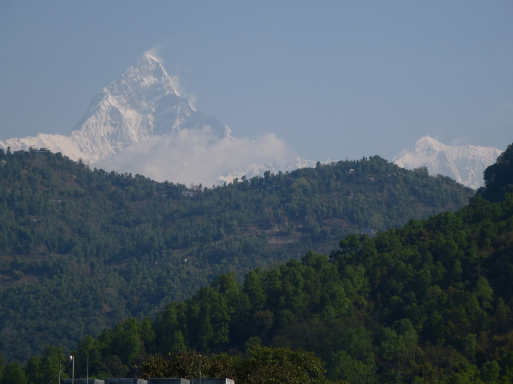 One of the Annapurna massif's many peaks over 23,000 feet, viewed from Pokhara, Nepal.