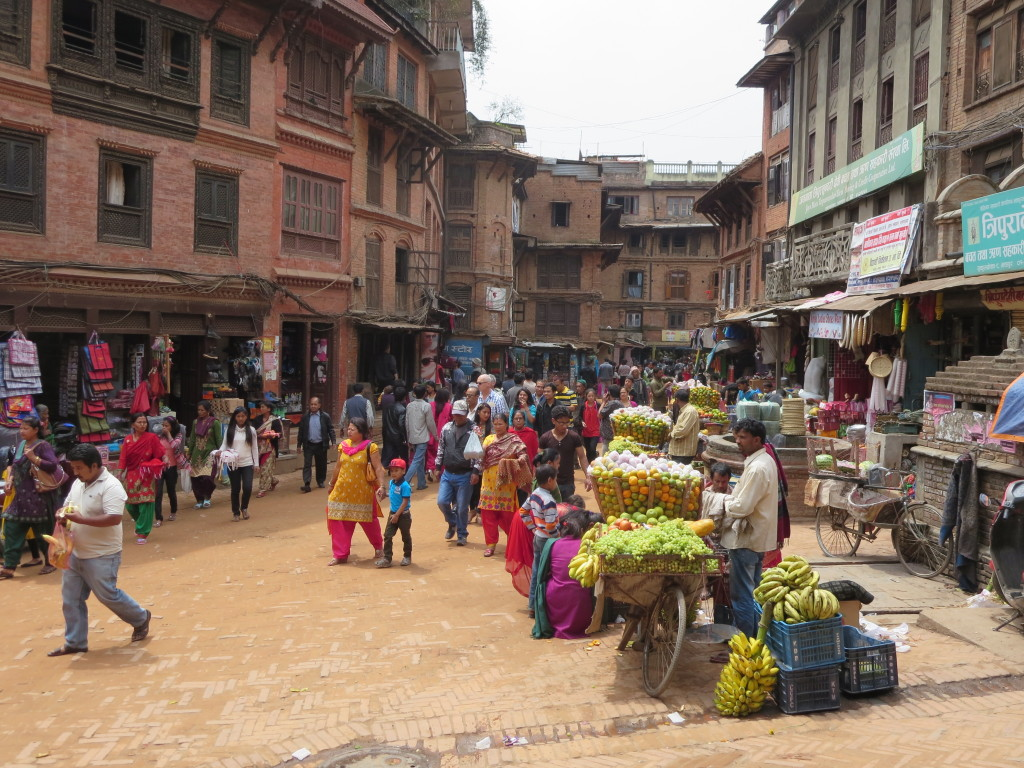 The New Year's Eve crowd in Bhaktapur, Nepal begins to grow.