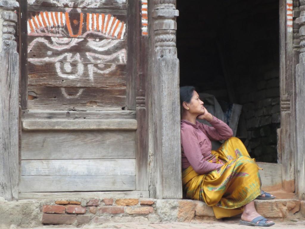 Woman in doorway, Bhaktapur, Nepal.