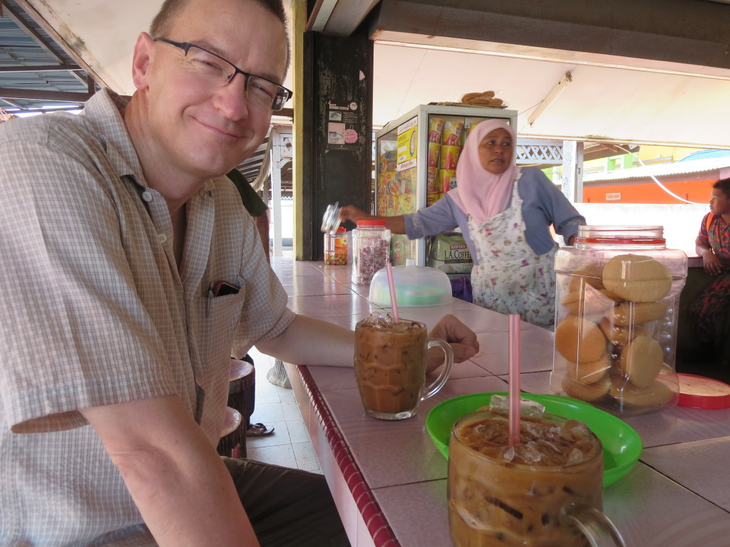 Iced Coffee and Sponge Cookies at the Kota Bharu Culture Center