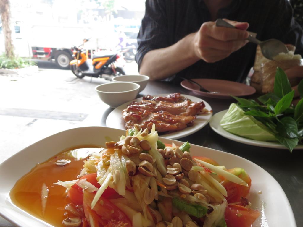 Som tam served street side, Bangkok, Thailand.