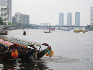 Bangkok Skyline and Chao Phraya River Traffic