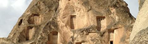 Portals of cave carvings in Cappidocia, Turkey.