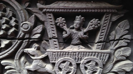 A Wooden Carving of Celestial Vehicle in Patan Durbar Square